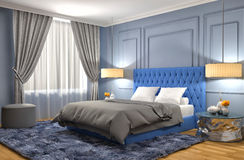 Bedroom interior. 3d illustration Royalty Free Stock Image