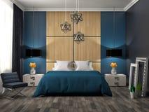 Bedroom interior. 3d illustration. Blue Stock Image