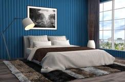 Bedroom interior. 3d illustration. Blue Royalty Free Stock Images