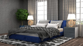 Bedroom interior. 3d illustration Royalty Free Stock Photos