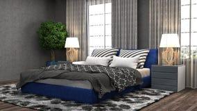 Bedroom interior. 3d illustration. Blue Royalty Free Stock Photos