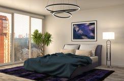 Bedroom interior. 3d illustration. Blue Royalty Free Stock Image