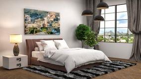 Bedroom interior. 3d illustration royalty free illustration