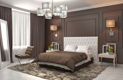 Bedroom interior. 3d illustration. Brown Royalty Free Stock Photography