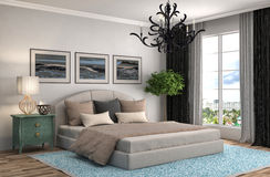 Bedroom interior. 3d illustration. Brown Royalty Free Stock Photo
