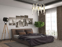 Bedroom interior. 3d illustration. Brown Stock Photos