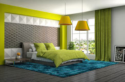 Bedroom interior. 3d illustration. Green Royalty Free Stock Images