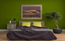 Bedroom interior. 3d illustration Stock Images