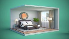 Bedroom interior. 3d illustration Royalty Free Stock Photo