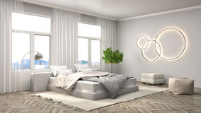 Bedroom interior. 3d illustration Stock Photography