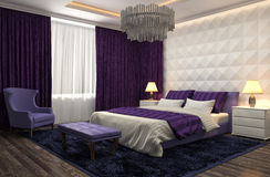 Bedroom interior. 3d illustration. Purple Stock Images