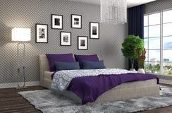 Bedroom interior. 3d illustration. Purple Stock Photo