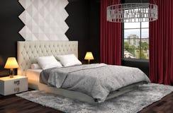 Bedroom interior. 3d illustration Royalty Free Stock Image