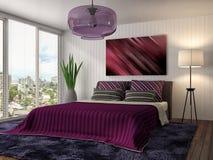 Bedroom interior. 3d illustration. Red Stock Images