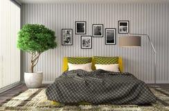 Bedroom interior. 3d illustration. Yellow Royalty Free Stock Image