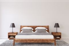 Bedroom interior. 3d render. Interior mockup. Wooden bedroom. 3d render Stock Photo