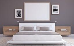 Bedroom interior. 3d render. Modern bedroom interior. Frame mockup. 3d render Stock Images