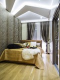 Bedroom interior. Decoration and lighting Royalty Free Stock Photo