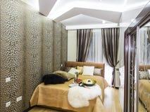 Bedroom interior. Decoration and lighting Stock Photo