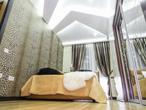 Bedroom interior. Decoration and lighting Royalty Free Stock Photos