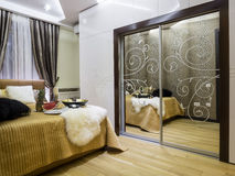 Bedroom interior. Decoration and lighting Royalty Free Stock Images