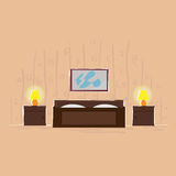 Bedroom Interior Design Bed Thin Line Royalty Free Stock Photography