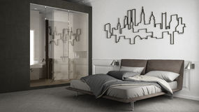 Bedroom interior design. 3d illustration Stock Photography