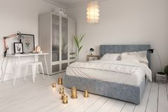 Bedroom interior design 3D rendering Stock Images