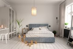 Bedroom interior design 3D rendering Stock Image