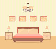 Bedroom interior design in flat style including bed, table, lamps, nightstands and picture frames. Royalty Free Stock Image