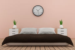 Bedroom interior design in pink tone in 3D rendering. Bedroom interior design in pink tone room in 3D rendering Royalty Free Stock Images