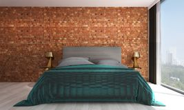 The bedroom interior design and red brick wall pattern background. 3d rendering interior design of living room Royalty Free Stock Photography