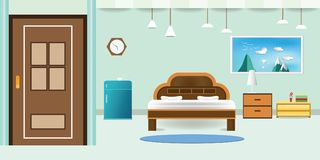 Bedroom interior flat design relax that have door refrigerator blue cabinet, picture frame sky cloud landscape on mountain, in wal. L color soft green background stock illustration