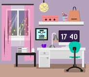 Bedroom Interior flat design. Room in pink colors with window, computer, desk, chair, lamp. Modern  illustration Stock Photography