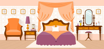Bedroom Interior  in a flat style. Royalty Free Stock Photography