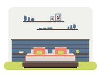 Bedroom interior. Flat style  illustration of a bedroom interior Royalty Free Stock Photography