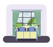 Bedroom interior. Flat style  illustration of a bedroom interior. Hotel room with a large window Stock Photo