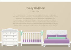 Bedroom interior. Flat vector illustration. Modern family bedroom design in flat style. Room interior for newborn baby and parents with white furniture. Vector Stock Photography