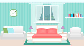 Bedroom interior with furniture and cityscape outside the window. Royalty Free Stock Images