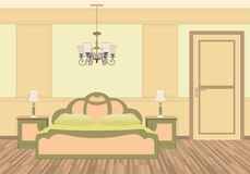 Bedroom interior with furniture in classic style. Light colors flat vector illustration Stock Photos