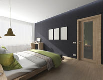 Bedroom interior with green blanket Royalty Free Stock Photos