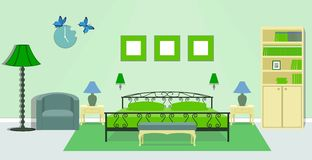 Bedroom interior in green colors. Vector illustration. Bedroom interior with furniture - bed, bedside tables, floor lamps, bench, armchair, clock, bookcase in Stock Photos