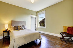 Bedroom interior with hardwood floor Stock Image