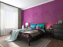 Bedroom interior in a hotel bed. With black blanket, bedside tables and curtains Royalty Free Stock Image