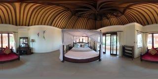 Bedroom interior in hotel. vr360 stock photo