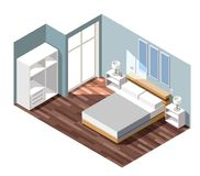 Bedroom Interior Isometric Composition. Bedroom interior with grey walls, night tables with lamps near bed, white wardrobe isometric composition vector Royalty Free Stock Photo
