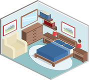 Bedroom interior in isometric style. Modern design of cozy bedroom with furniture. Interior in isometric style in blue and brown colors. Vector 3D illustration Royalty Free Stock Images