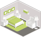 Bedroom interior in isometric style. Modern design of cozy bedroom with white furniture, grey walls and green accents. Interior in isometric style. Vector 3D Royalty Free Stock Photos