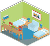 Bedroom interior in isometric style. Modern bedroom design with furniture including two beds. Interior in isometric style. Vector 3D illustration Royalty Free Stock Images