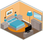 Bedroom interior in isometric style. Modern bedroom design with furniture and TV. Interior in isometric style. Vector 3D illustration Stock Photos